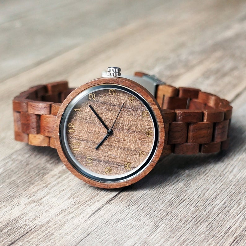 Personalized Walnut Wood Wooden Womens Watch with Optional Wooden Box, Engraved Watch, Custom Bridesmaid Gift, Girlfriend Gift, Mother Gift