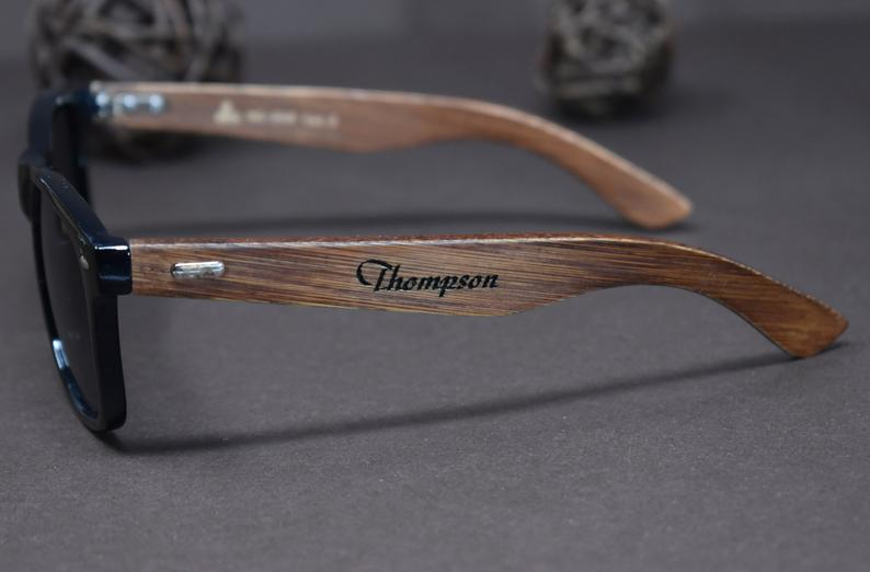 Personalized Wood Sunglasses, Engraved custom wooden sunglasses, Mens Gift Groomsmen Gift, Groomsmen Sunglasses, Polarized wooden sunglasses