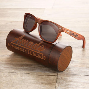 Open image in slideshow, Personalized Walnut Wooden Sunglasses