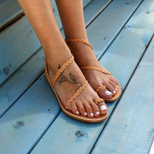 Open image in slideshow, ATHENA  ancient Greek leather sandals