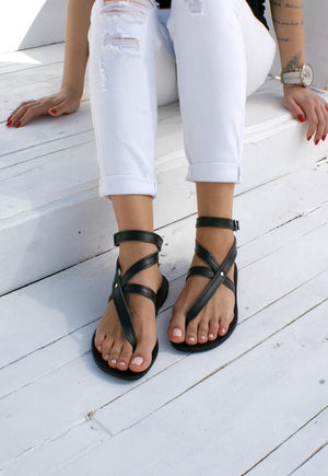 Open image in slideshow, sandals Greek leather sandals