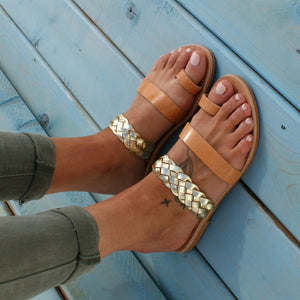 Open image in slideshow, NIKI sandals ancient Greek leather sandals