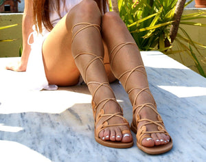 Open image in slideshow, AMAZONA leather gladiator sandals