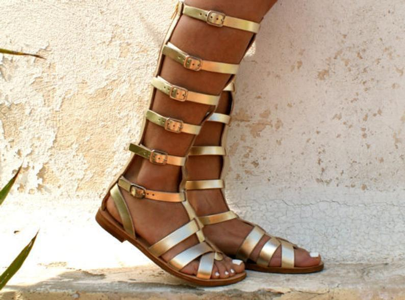 Leather gladiator ancient Greek sandals