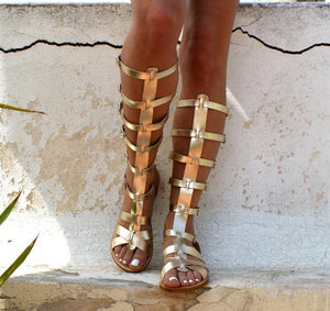Open image in slideshow, Leather gladiator ancient Greek sandals