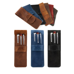 Personalized Fine Leather Pen and Pencil Case with Tuck in Flap - Brown / Black / Blue / Mink / Red / Camel / Khaki Green - United Split