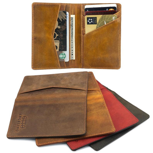 Personalized Fine Leather Bifold Card and Cash Wallet - Unisex - Camel / Red / Olive / Cinnamon - United Split