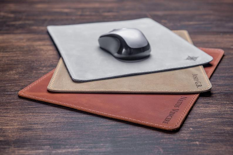 Personalised Leather Mouse Pad Engraved Mousepad Custom mousepad Gift for Him Desk Accessories for Men Gift for Boss for Boyfriend anytime - United Split