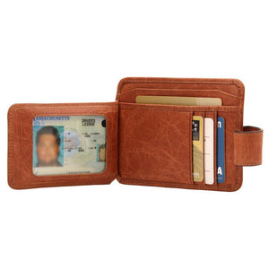 Personalized Fine Leather Minimalist Wallet - Quick ID Access - RFID Blocking - Unisex - Brown / Damson / Green / Antracite - United Split