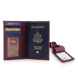 Personalized Real Leather Passport Wallet - RFID Blocking and Baggage Tag - Unisex - Brown / Black / Pink / Purple - United Split