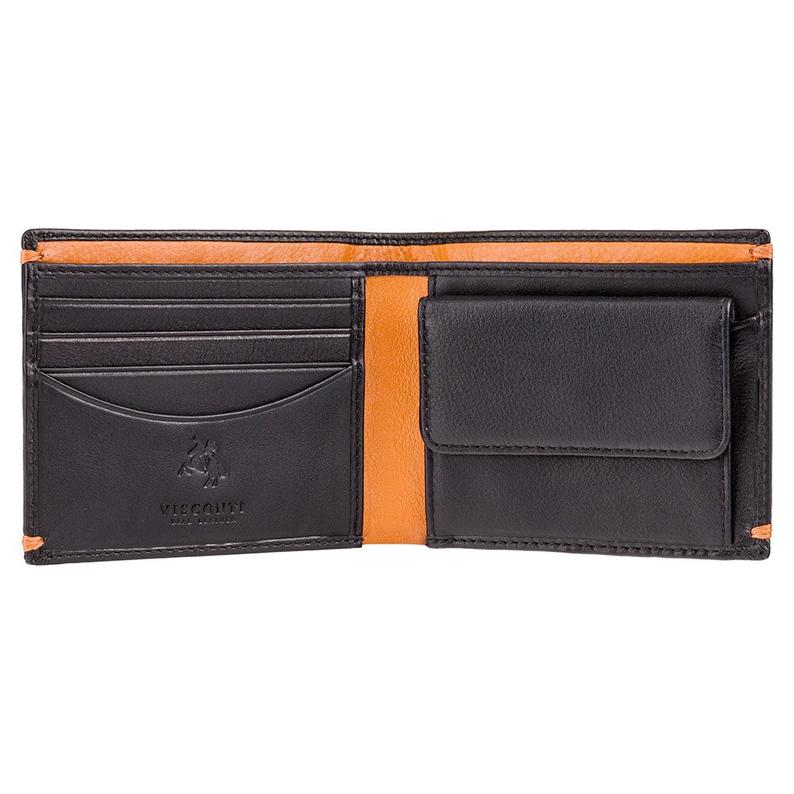 VISCONTI - Black Wallet Leather RFID - Black Orange - Card and Coin Wallet - AP62- Slim Wallets - Best Selling Design - Mens Wallet