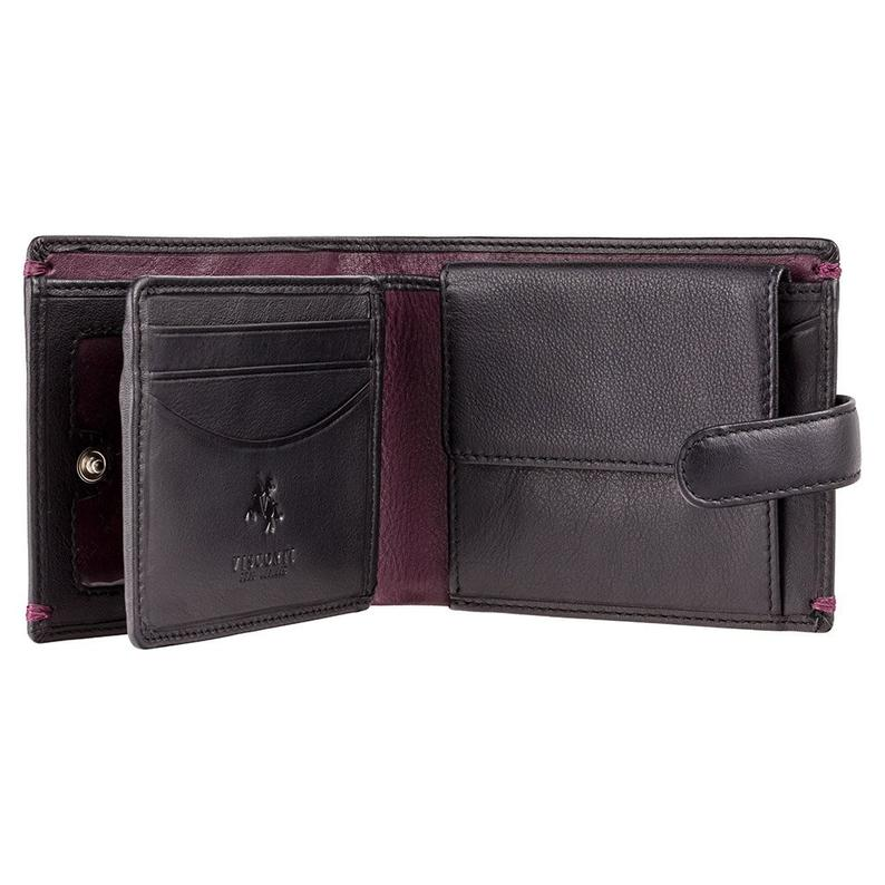 VISCONTI - Black Burgundy - Button Close - Card and Coin - Leather Wallet with RFID Protection - AP63 - Wallets for Men