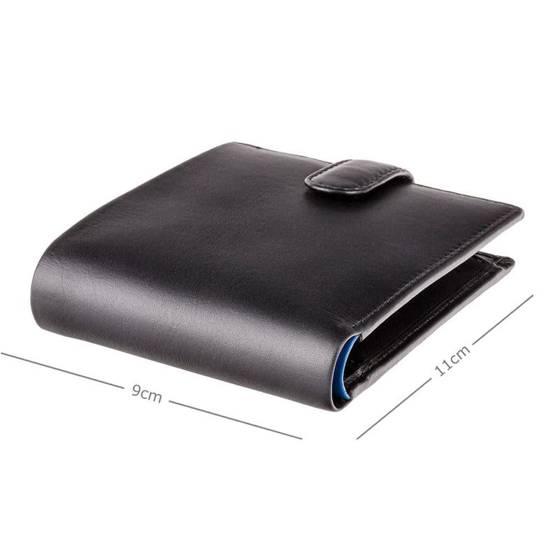 VISCONTI - Black Cobalt Leather Wallet with RFID Protection - Wallets for Men - Premium Leather - Handmade - PM100
