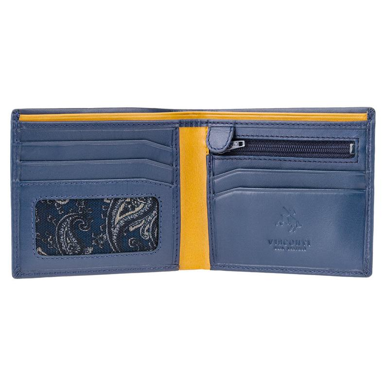 VISCONTI - Luxury Blue Mustard Leather Wallet with RFID Protection - Wallets for Men - Premium Leather - Handmade - PM101