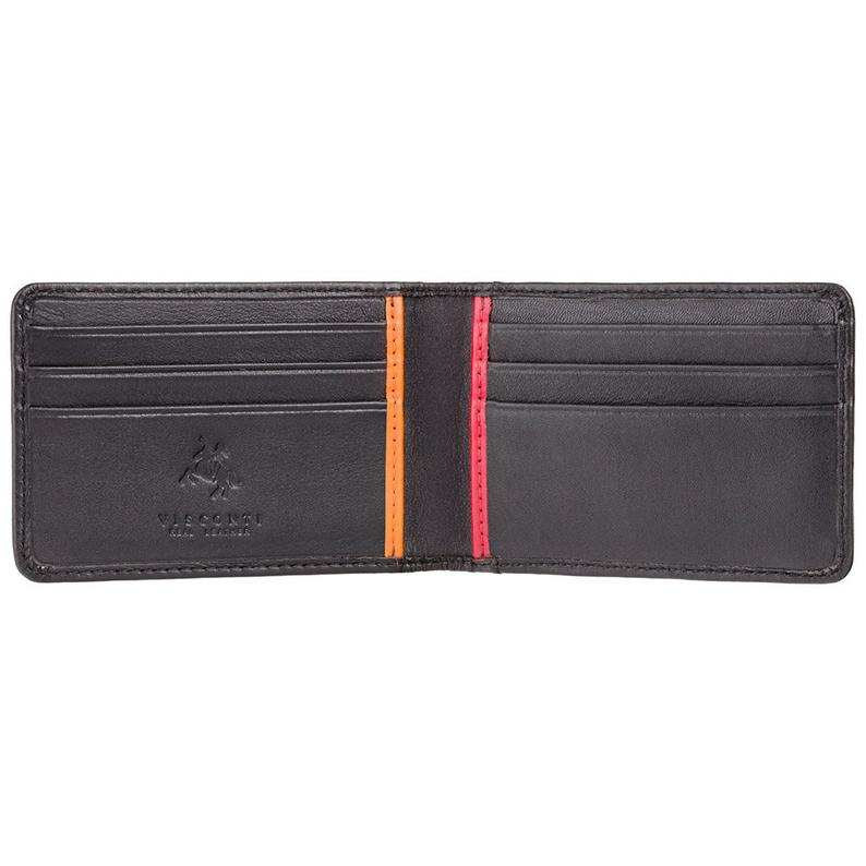 VISCONTI - RFID Black Red Orange - Mens Card Wallet Leather Wallet - Leather Wallets for Men - BD11 - Gift Boxed - Bond Collection