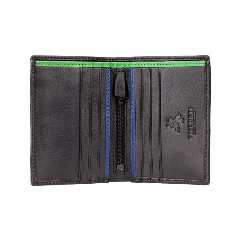 VISCONTI - RFID Black Red Orange - Mens Cash + Card Leather Wallet - Leather Wallets for Men - BD14 - Gift Boxed - Bond Collection