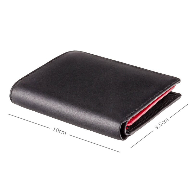 VISCONTI - RFID Black Red Orange - Mens Cash + Coin Leather Wallet - Leather Wallets for Men - BD22 - Gift Boxed - Bond Collection