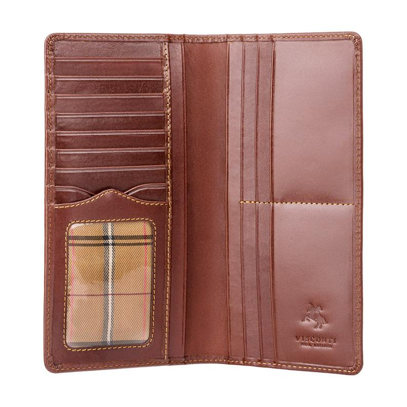 VISCONTI Italian Brown Luxury Long Leather Wallet with RFID - Cash and Card Wallet - Card Holder - Jacket Wallet - Mens Wallet - MZ6