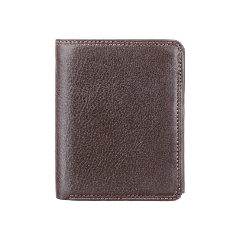 Men's Upright Leather Wallet - RFID Blocking Wallet - Note Case - Chocolate Brown - HT11 - Boxed - Best Seller