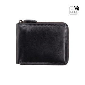 Premium Real Leather Zip Around Wallet WIth RFID Protection - Black - HT14 - Gift Boxed