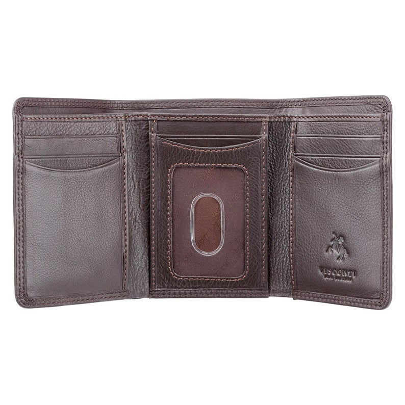 Mans RFID Tri Fold Wallet - Slim Wallet Design in Dark Brown - HT18 - Gift Boxed - Triple Fold