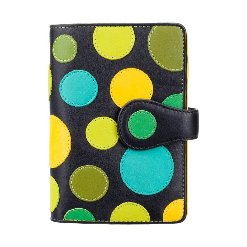 Polka Dot Purse Wallet - Ladies Wallet - Womens Wallets - Genuine Leather RFID Blocking - Button Close Purse - P1 Saturn