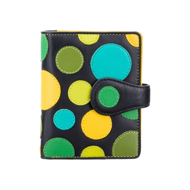Polka Dot Purse - Ladies Lime Wallet - Womens Wallets - Genuine Leather RFID Blocking - Button Close Purse - P3 Pluto