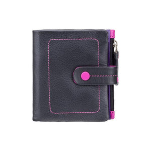 Small Card and Coin Purse - Ladies Wallet - Black - Womens Wallets - Genuine Leather - Button Close Purse - M77 Mojito