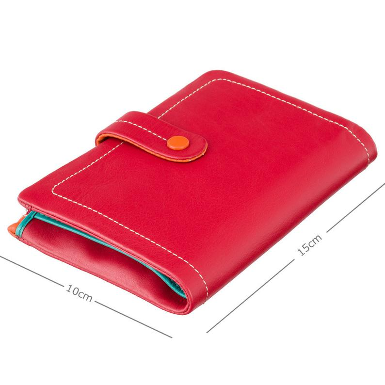 Colorful Purse Wallet - Ladies Wallet - Red - Womens Wallets - Genuine Leather - Button Close Purse - M87 Malabu