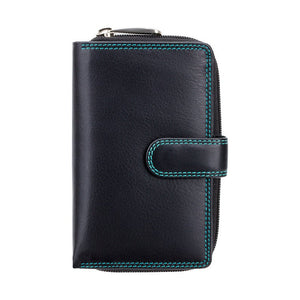 Top Selling Purse in BlackAqua - Ladies Wallet - Womens Wallets - Genuine Leather RFID Blocking - Button Close Purse - CD22 Ruby