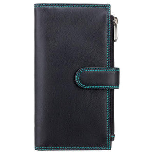 Black Aqua Ladies Double Zipper Purse - Ladies Wallet - Womens Wallets - Genuine Leather RFID Blocking - Button Close Purse - CD23 Jade