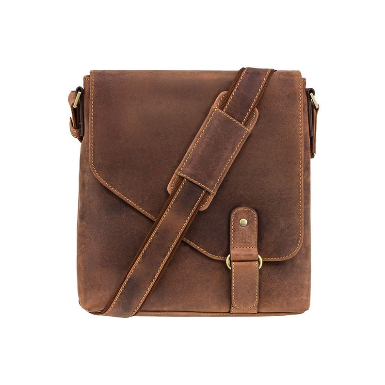 VISCONTI Hunters Leather Messenger Bag - Flapover and Ziptop Bag - Oiled Tan - Brown Leather Bag - Body Bag - Unisex