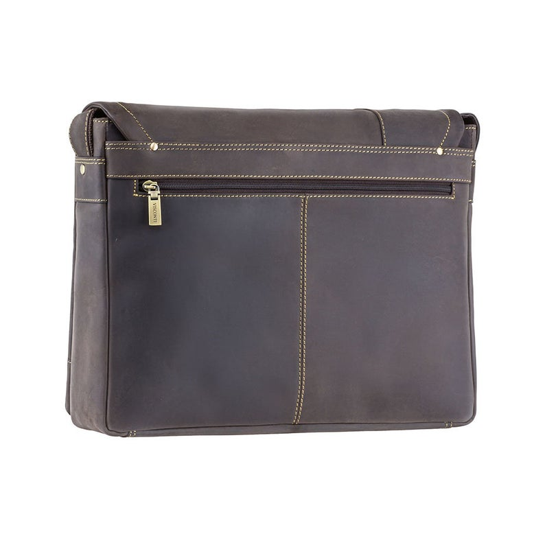 "VISCONTI Hunters Leather Messenger Bag - Flapover and Ziptop Bag - Oiled Brown - 13"" Laptop Case - Messenger Case - 16072"