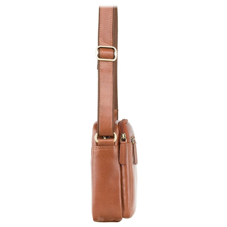 VISCONTI Sling Bags Collection - S8 - Tan - Leather Bag for Ladies - Unisex Leather Bag - Ladies Bag - Zip Top Small Bag
