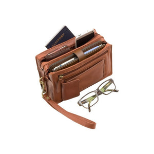 Unisex Wrist Bag - Premium Leather Bag - Wrist Bag - Mens Bag - Real Leather - VISCONTI 18233 - Brown