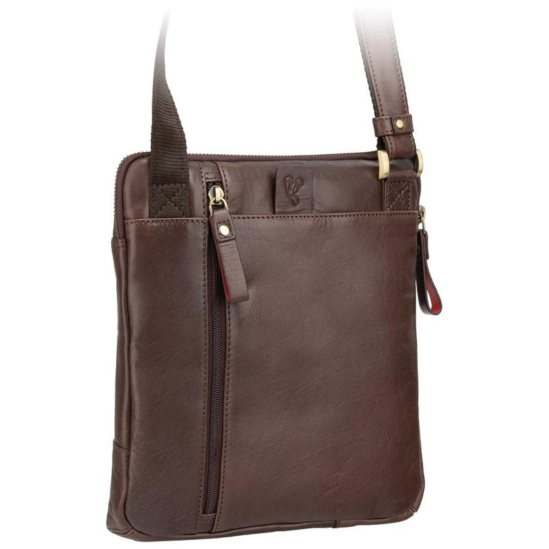 VISCONTI Roy (M) - Brown- Natural Full Grain Leather Messenger Bag A5 -ML20
