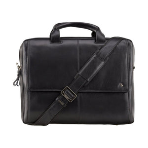 "15"" Large Laptop Bag - VISCONTI Messenger Bag - Anderson - Black - Natural Full Grain Leather - Luxury Multi Compartment Case - ML24"