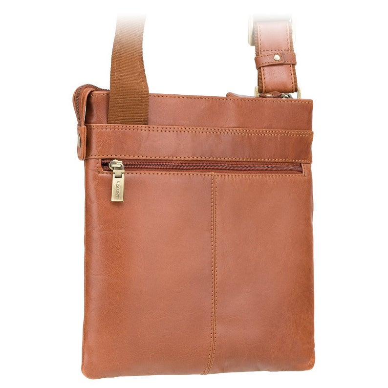 Tan Leather Bag - Taylor - Tan - Natural Full Grain Leather Crossover Bag Slim - Luxury Tablet Leather Bag - ML25