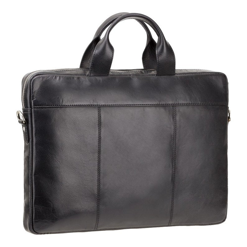 "Slim Men's Bag In Leather - VISCONTI Merlin Messengers - Charles - Black - 13"" Slim Laptop Briefcase - ML28"
