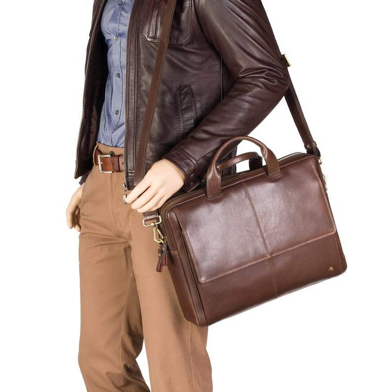"Large Man's Leather Bag - Anderson - Brown - Natural Full Grain Leather 15"" Laptop Bag - Luxury Multi Compartment Case - ML24"