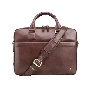 "VISCONTI Merlin Messengers - Victor - Brown - Natural Full Grain Leather 13"" Laptop Briefcase - Luxury Multi Compartment Case - ML28"