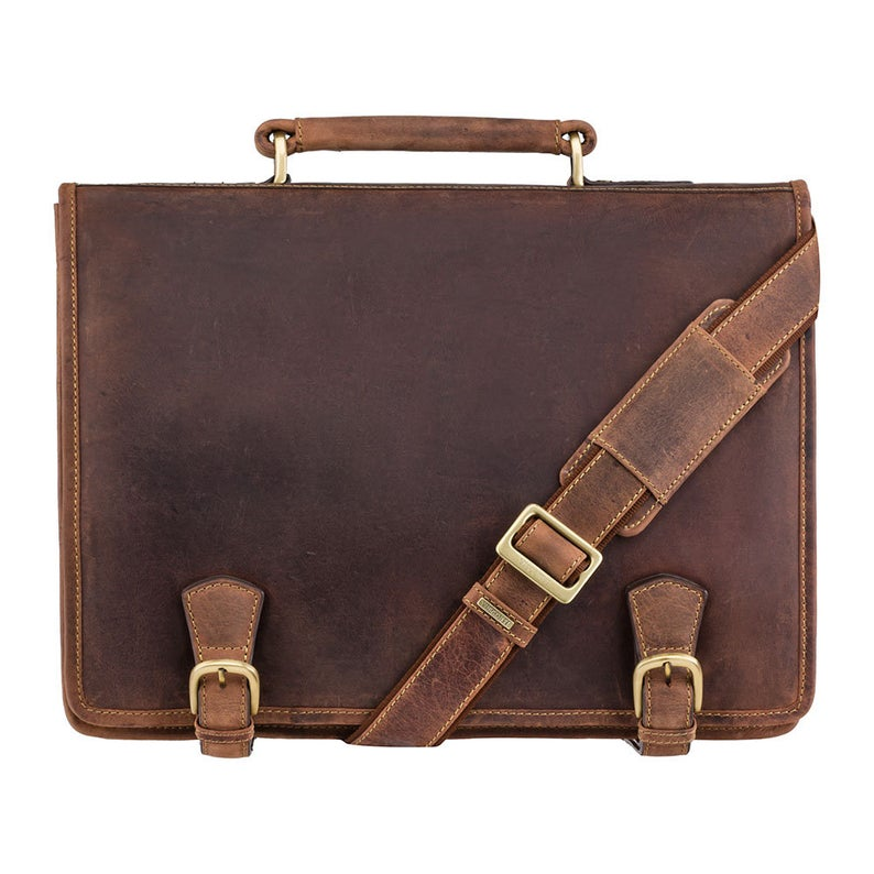 Multi Compartment Briefcase - VISCONTI Hulk - Oiled Tan - Distressed Leather Bag - Vintage Leather Bag - Man Bag - 16134