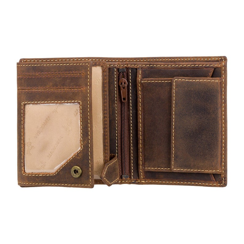 VISCONTI Leather Wallet - Oil TAN - Hunters Collection - Small Expandable Wallet - 708 - Cash and Coin Holder - Card Case - Bi-Fold - RFID