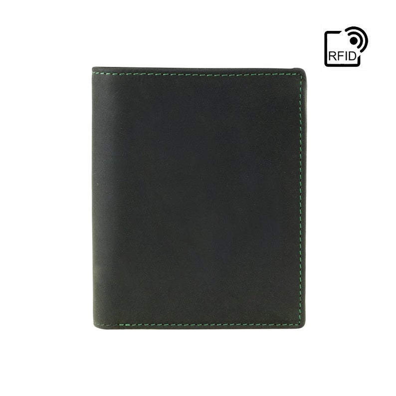VISCONTI RFID Leather Wallet - Oil GREEN - Hunters Collection - Expandable Wallet - 709 - Cash and Coin Holder - Card Case - Bi-Fold