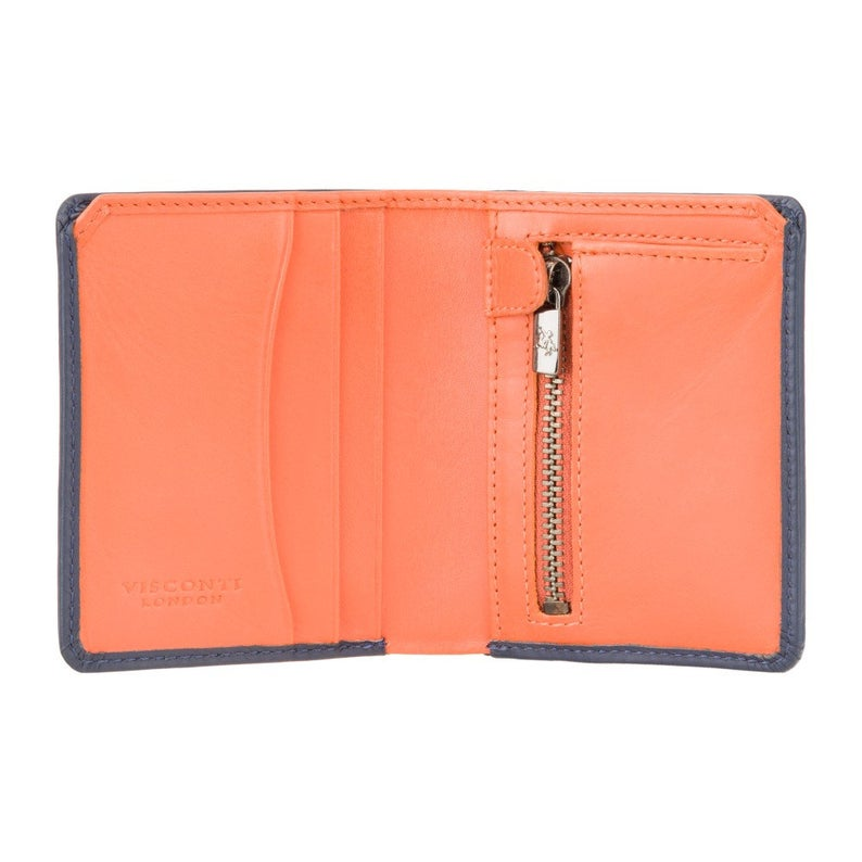 RFID Wallets - VISCONTI Leather Wallet - Blue & Orange - Piana - PLR70 - Cash and Coin Holder - Card Case - Bi-Fold - Palermo - Man Wallet