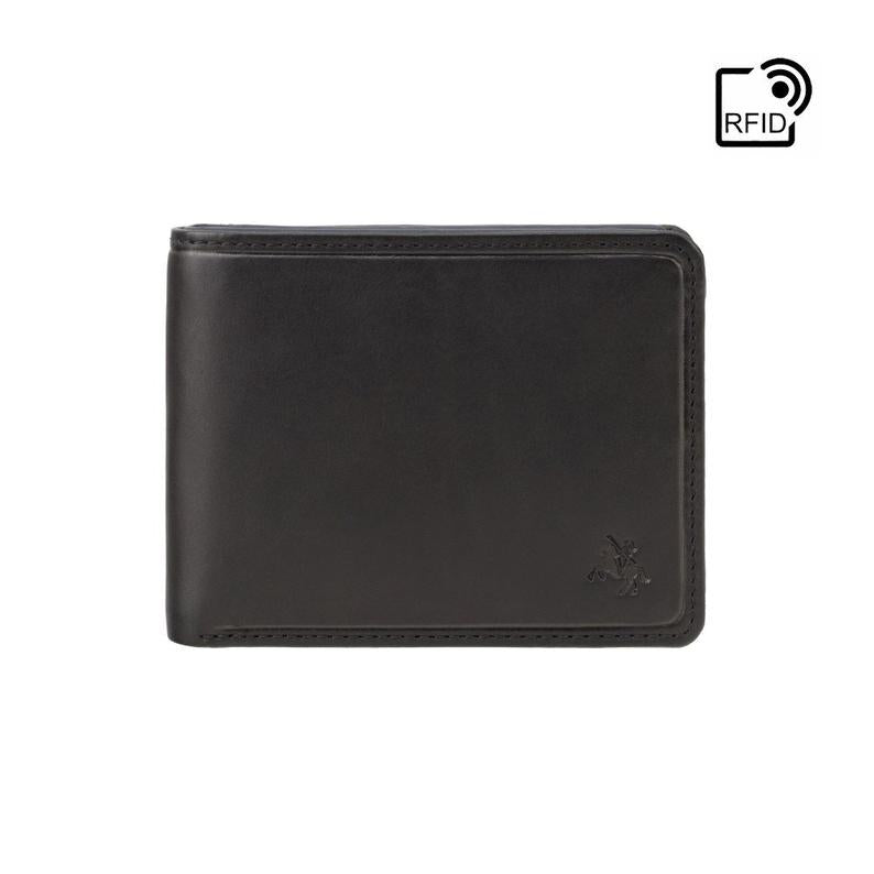 RFID Wallets - VISCONTI Leather Wallet - Black & Blue - Segesta - PLR72 - Cash and Coin Holder - Card Case - Bi-Fold - Palermo - Man Wallet