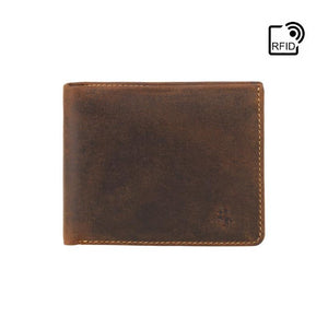 VISCONTI - Slim Leather Wallet with RFID - Oiled Tan - Cardholder Wallet - Coin Holder Wallet - Leather Wallets for Men - VSL33 - Premium