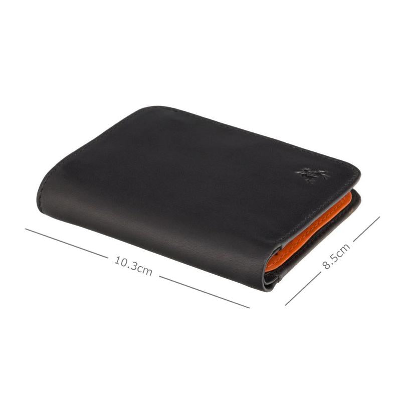 RFID Slim Leather Wallet - Black Orange - Card Holder Wallet - Minimalist Wallet - Leather Wallets for Men - VSL34 - Gift Boxed - VISCONTI