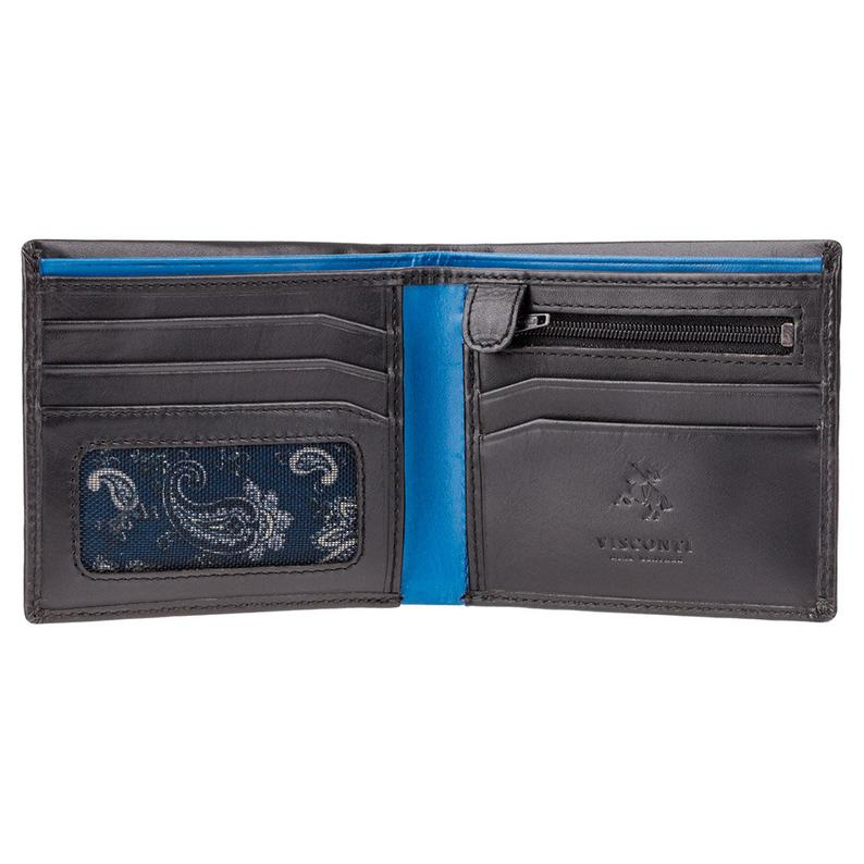 VISCONTI - Soft Leather Black Cobalt Leather Wallet with RFID Protection - Wallets for Men - Premium Leather - Handmade - PM101