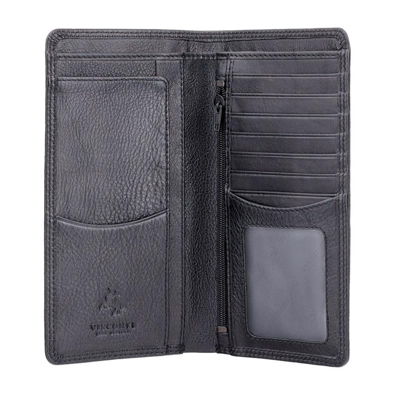 VISCONTI RFID Premium Leather - Black - Cash and Coin Long Wallet - Jacket Wallet - Travel Wallets for Men - HT12 - Gift Boxed